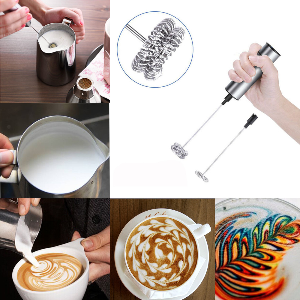 Milk Frother Handheld Double Spring Whisk Head Powerful Electric Spring