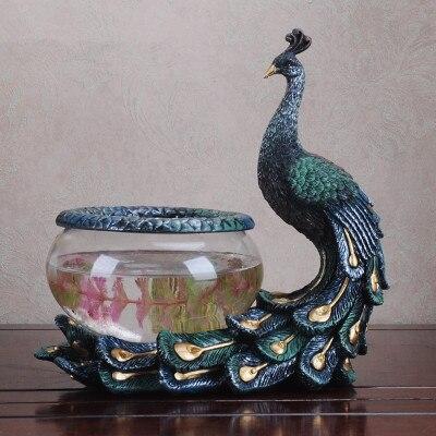 Résine paon réservoir de poisson aquarium verre rétro transparent verre réservoir de poisson tortue réservoir créatif aquarium animal moderne décoration de la maison