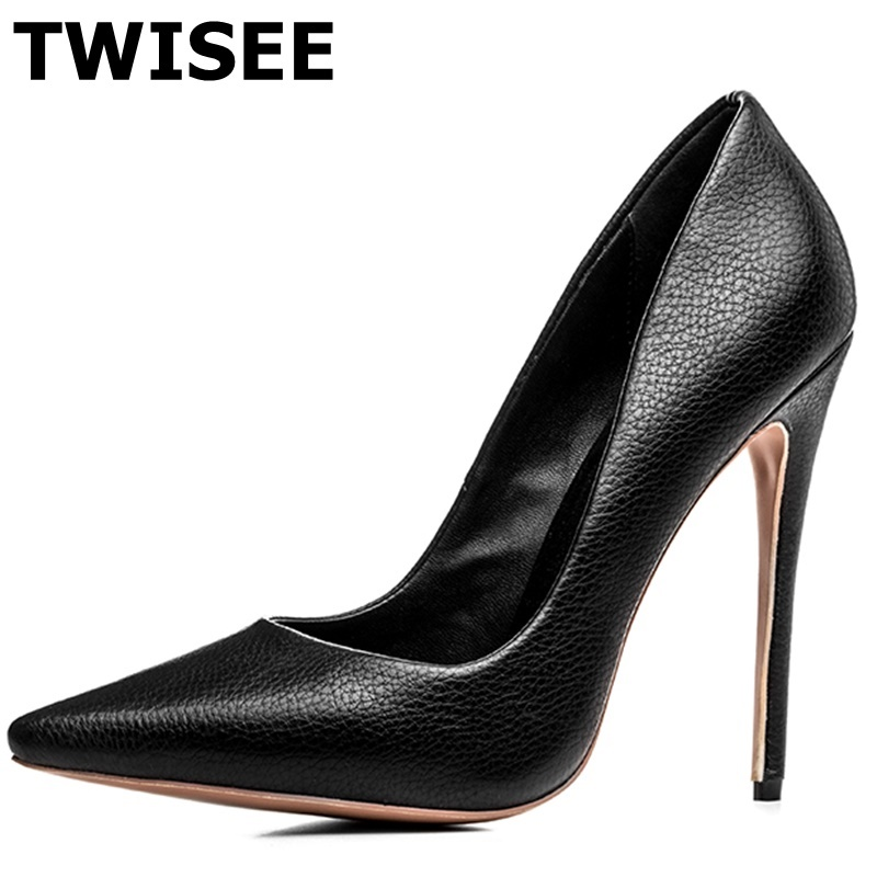 TWISEE sapatos femininos Women high Heel 12cm Fashion Pumps Black Soft pu Leather Pointed Toe Leather Shoes Women Pumps Shoes allbitefo hot sale patent leather high heels platform women pumps high heel shoes women shoes spring shoes sapatos femininos