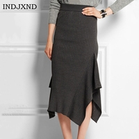 INDJXND Womens Sexy Slim Package Hip Irregular Open Fork Skirt Stretch Pencil Skirts Knitted Cotton Linen