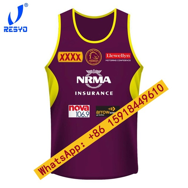 get cheap 99df9 cd5e4 US $18.88 |RESYO 2018 2019 Brisbane Broncos Rugby Vest Rugby Jerseys  Football Shirt/ Free shipping-in Rugby Jerseys from Sports & Entertainment  on ...