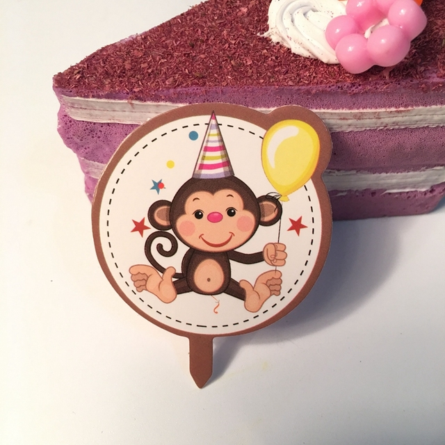 New 30pcs Cartoon Animal Smiley Monkey Cake Toppers Picks Children
