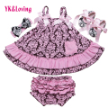 2017 New Tank Top Baby Girls Clothing Set Newborn Dress Sling Bat Shirt Ruffle Bloomers Short Swing Top Kids Clothes Gift Z116