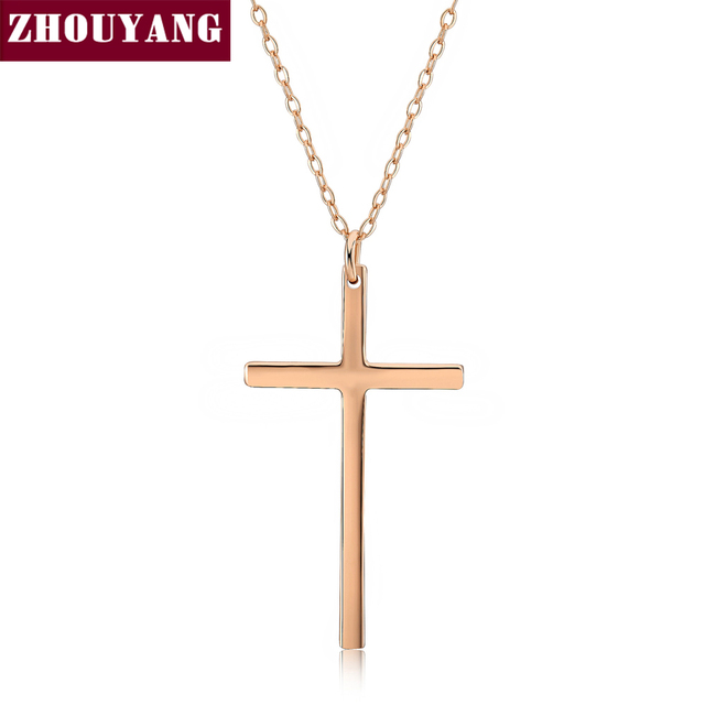 Top Quality Classic Croos Rose Gold Color Pendant Necklace Fashion