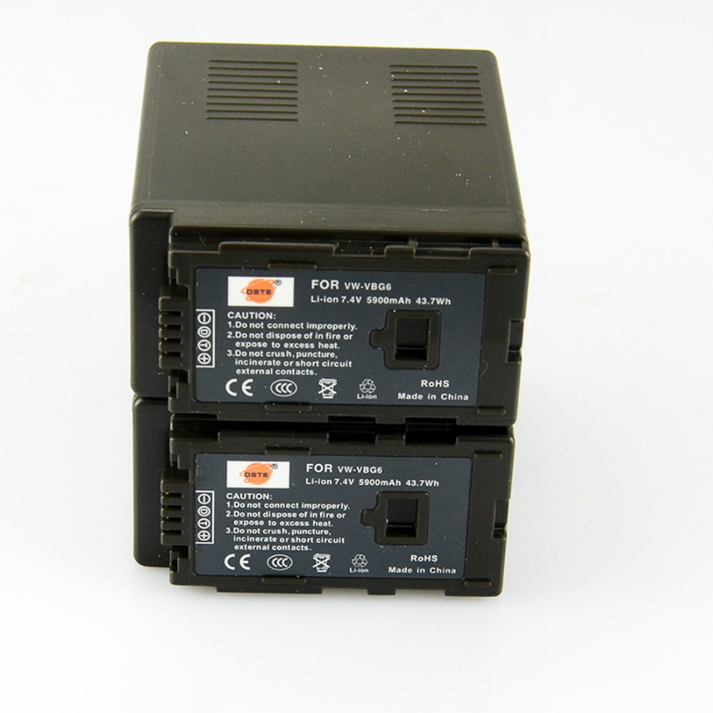 DSTE 2pcs VW-VBG6 Camera Battery for Panasonic AG-HMC155 AG-HMC83MC AG-HMC40 AG-HMC151E HDC-MDH1GK-K replacement vbg260 7 4v 2460mah battery pack for panasonic ag hmc150 hdc dx1 more