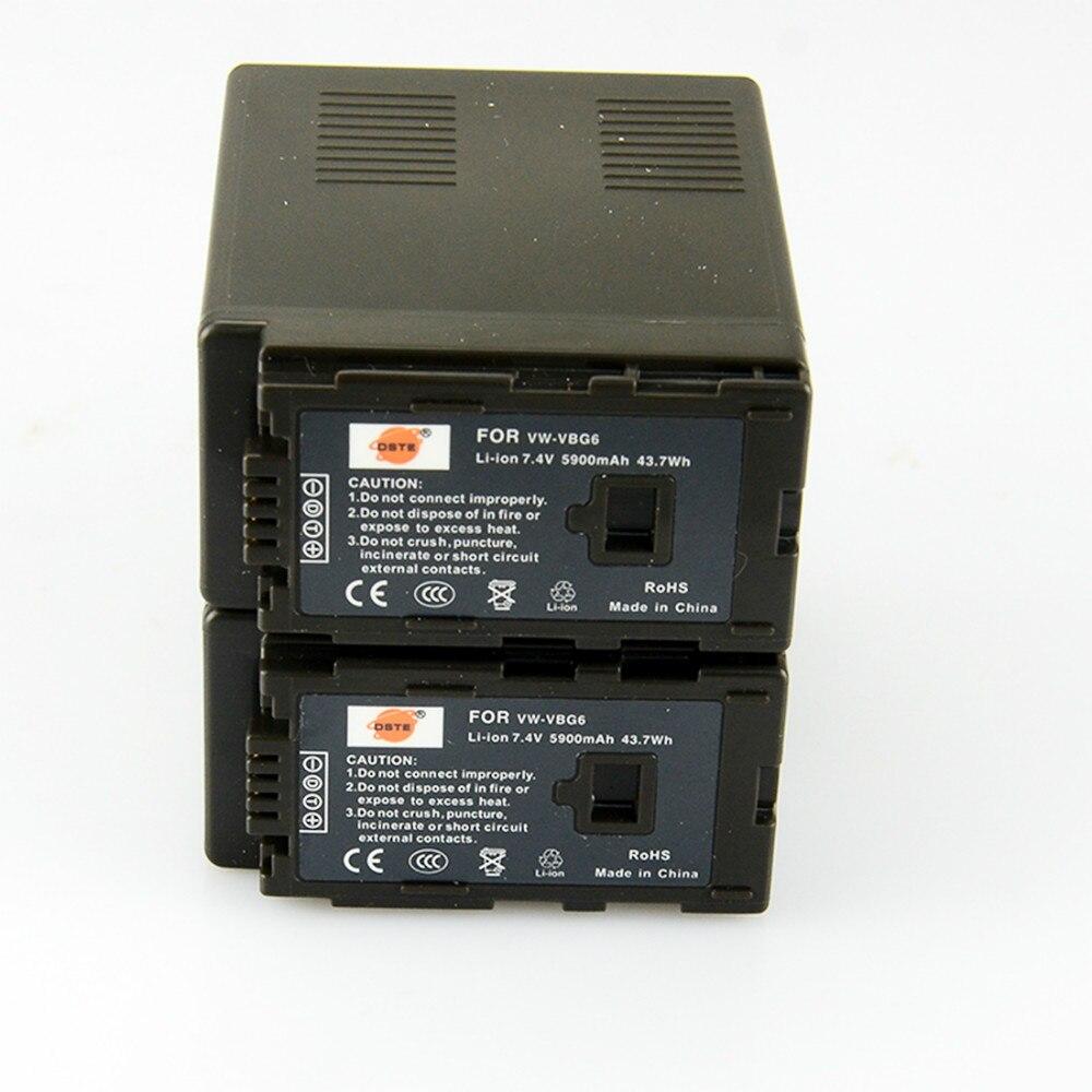 DSTE 2pcs VW-VBG6 VWVBG6 VBG6 Camera Battery for Panasonic AG-HMC155 AG-HMC83MC AG-HMC40 AG-HMC151E HDC-MDH1GK-K