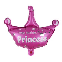 1/3pcs Princess Crown Foil Balloons Pink Blue Baby Boy Girl Ballons Birthday Party Decorations Kids Party Supplies Baby Shower(China)