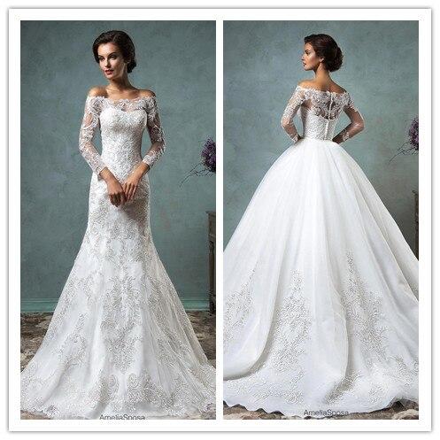 2016 Elegant Wedding Dress With Sleeves Off The Shoulder Jacket
