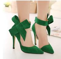 Plus Size Shoes Women Big Bow Tie Pumps 2015 Butterfly Pointed Stiletto Shoes Woman High Heels