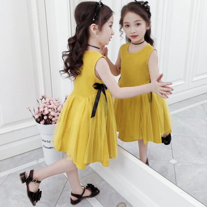 CROAL CHERIE Yellow Party Princess Dress Girl Summer Kids Dresses for Girl Costume Fashion Children Girls Clothing Bow Dress 2