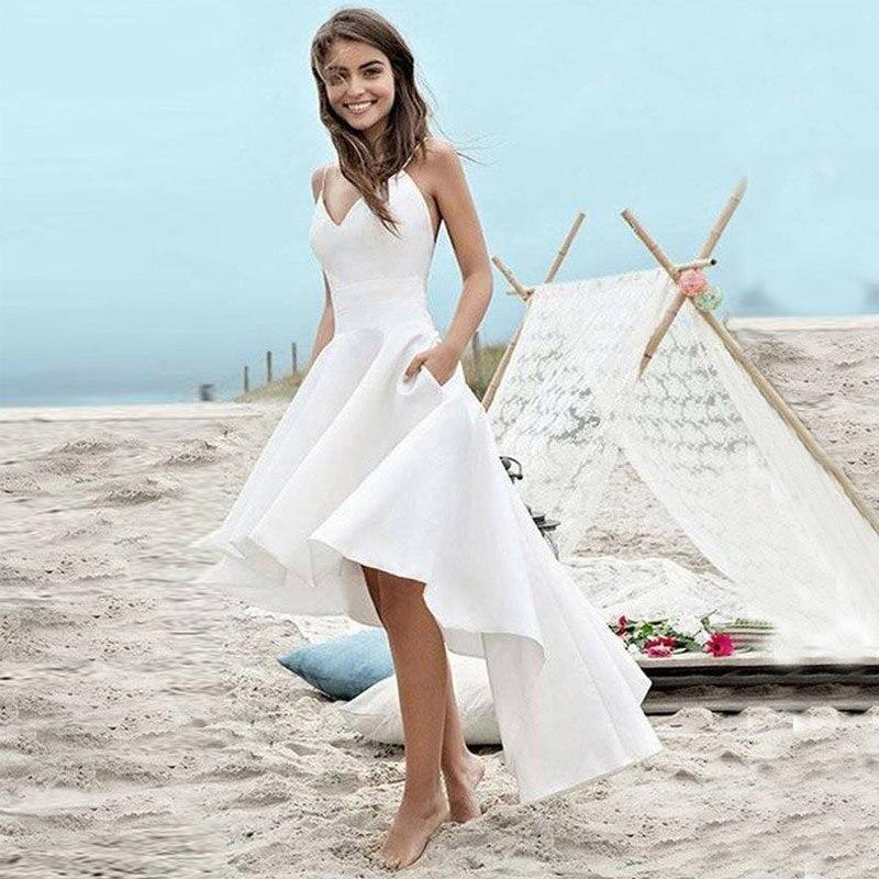 2019 Satin Vintage robe de soirée haut-bas Simple robe de soirée courte d'été vacances robe de soirée Abendkleider 2019