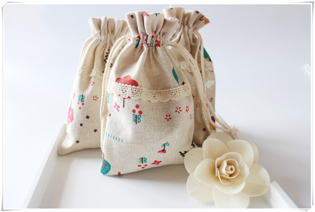Customized Logo Steel Tower Cotton Gift Bags Wedding Jewelry Pouch Free Shipping