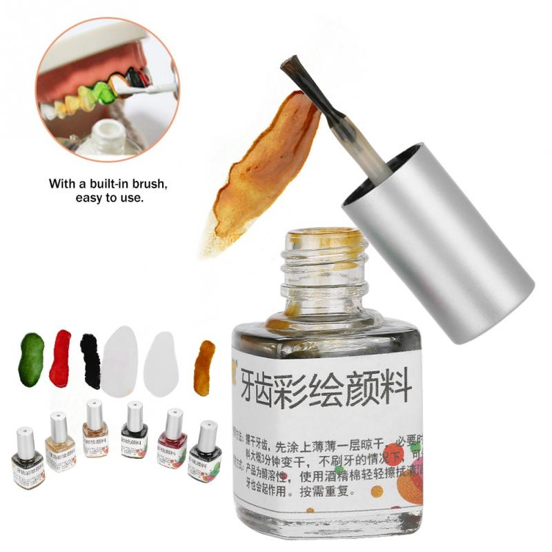 7ml Colorful Teeth Pigment Non-toxic Tooth Colored Creative 6 Colors Drawing Paint Pigment For Halloween Makeup Cosplay Party
