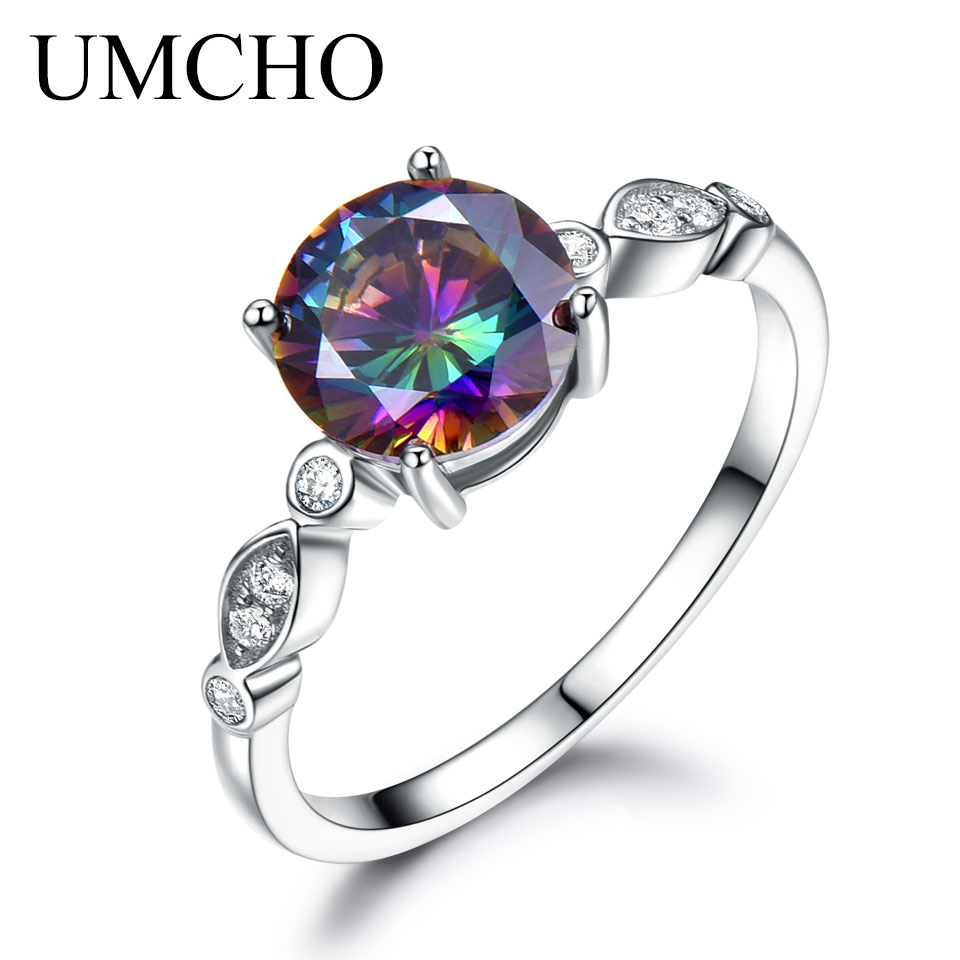 UMCHO Genuine Rainbow Fire Mystic Topaz Ring Solid 925 Sterling Silver Jewelry Best Gift For Women Fine Jewelry