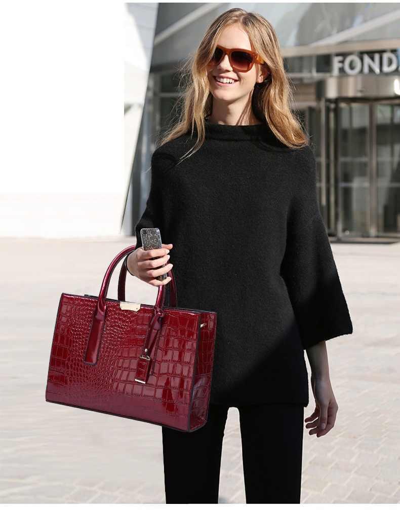 Bolsa Mujer Tas untuk Wanita 2019 Mewah Tas Tangan Wanita Tas Desainer Buaya Pola Kulit Bahu Messenger Tas Sac C824