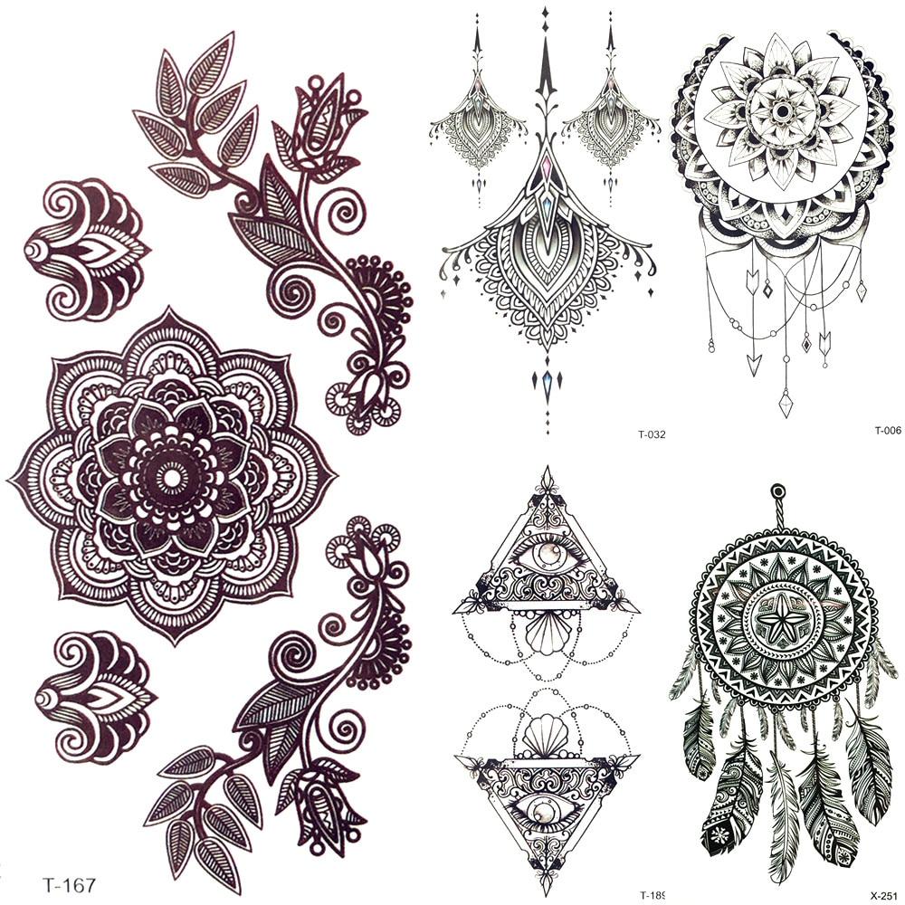 Henna Back Tattoo Drawing: 3D Black Mandala Flower Henna Temporary Tattoo Girl