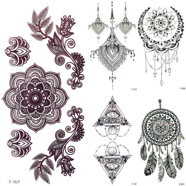 3d Noir Mandala Fleur Tatouage Temporaire Henne Fille Pendentifs