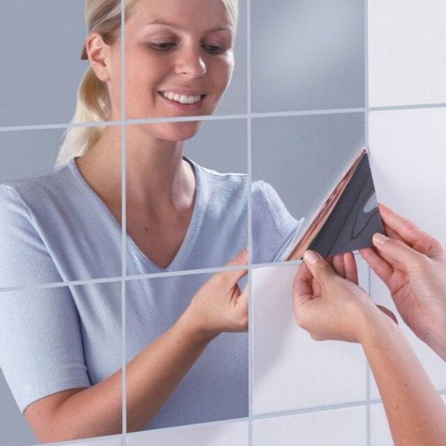 Декоративные настенные Зеркала 9 шт. и 16 шт. квадратное зеркало плитка Наклейки 3D этикета мозаики украшения дома номер DIY для гостиная крыльцо