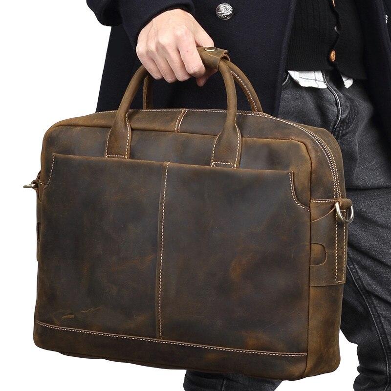 Limited Edition Crazy Horse Leather Men Handbag 15 Laptop Bag Genuine Leather Shoulder Bag Vintage Casual Business Briefcase