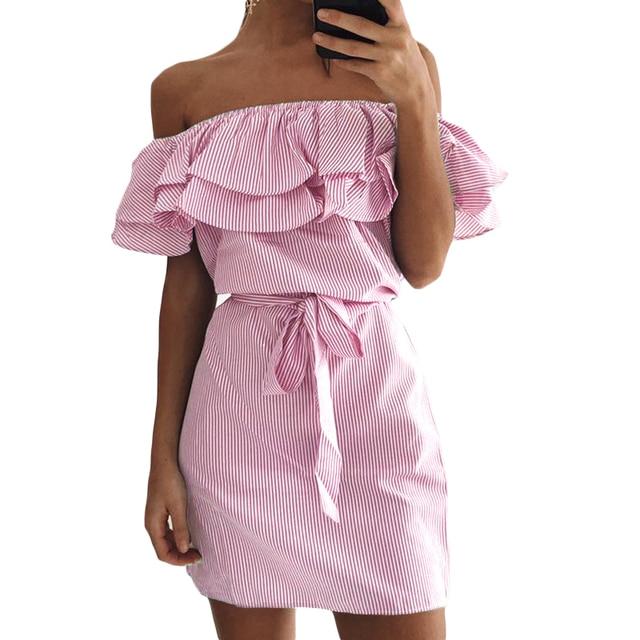 e5b39de0c67b Summer Pinstripe Dress Striped Off Shoulder Double Layered Ruffle Strapless  Dress Mini Sexy Elegant Beach Dress With Belt