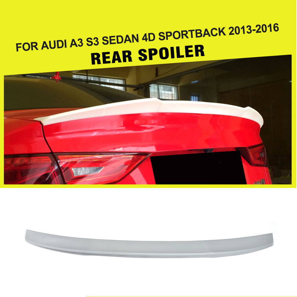 JC Style FRP Auto Car trunk Lip spoiler rear boot lip for Audi A3 Standard S3 Sedan 4 Door 13-16