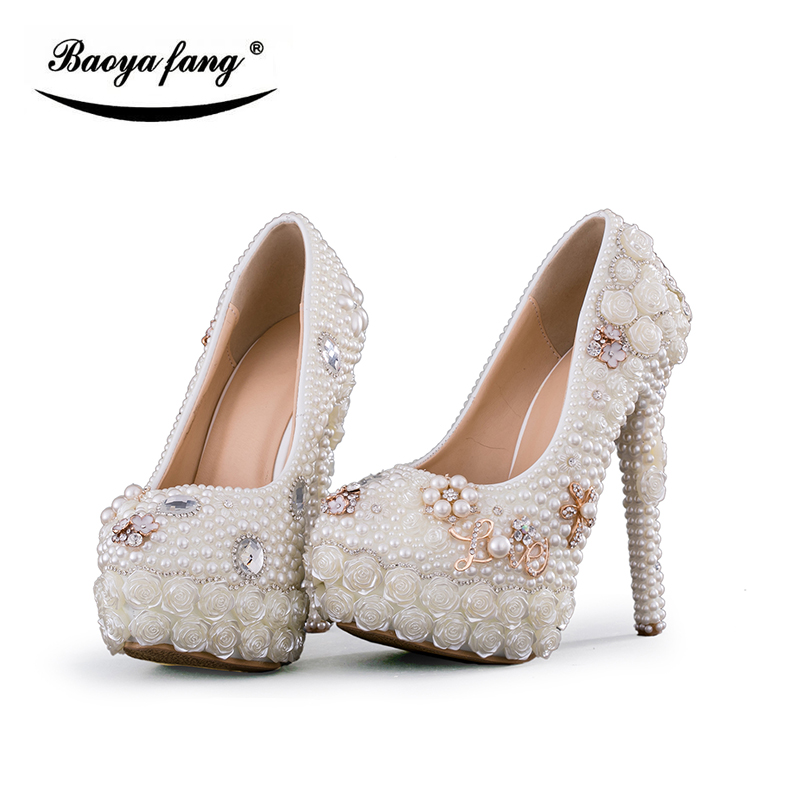 New Luxury Wedding shoes women high heels platform shoes woman round toe performance stage shoes Beige Pearl big size high Pumps