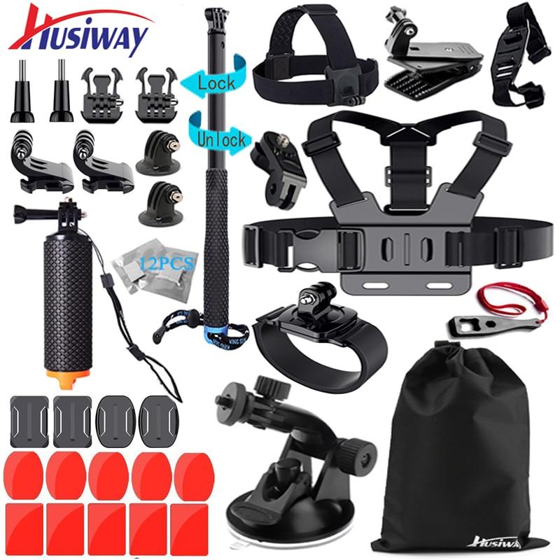 Husiway Kit di Accessori per Gopro Hero 6 Sessione Hero 5 4 3 Nero Xiaomi Yi 4 k/Eken h8r macchina fotografica 45A