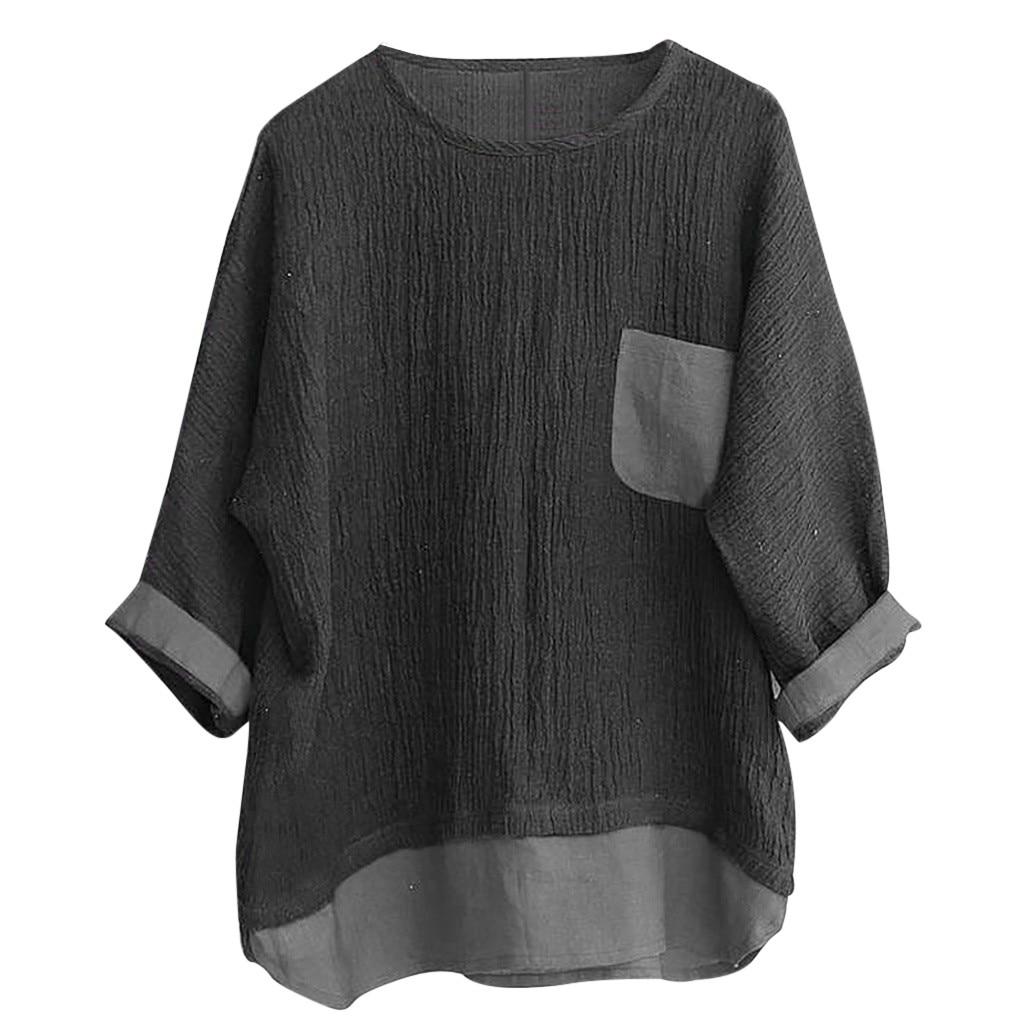 JAYCOSIN Shirts Men Summer Linen Patchwork Blouses Fitness Seven-Minute Sleeve Solid Shirt Loose Blouse Tops Tee Streetwear 426