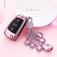 ФОТО creative gift crystal car keychain+tpu car styling key cover case for audi a3 q3 q7 a1 s3 a6l