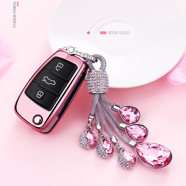 Creative Gift Crystal Car Keychain Tpu Car Styling Key Cover Case