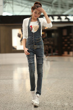 2016 Limited Regular Button Pockets Washed Jeans For Women American Apparel Waist Jeans 2016the New Type Tight Denim Overalls