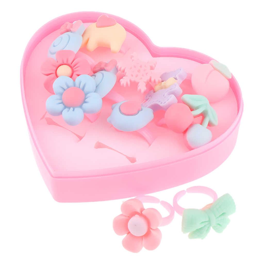 12 pçs/caixa anéis de dedo sortidos feitos à mão adorável, fingir jogar vestir-se jogo simulação jóias brinquedo para meninas