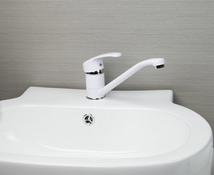 Practical Bathroom Kitchen Basin Sink Mixer White Painting Tap Faucet YS10 5