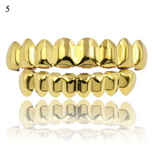 Hip Hop Oro Denti Grillz Superiore e Inferiore Griglie Dentale Bocca Punk Denti Caps Cosplay Del Partito Dente Rapper del Regalo Dei Monili accessori(China)