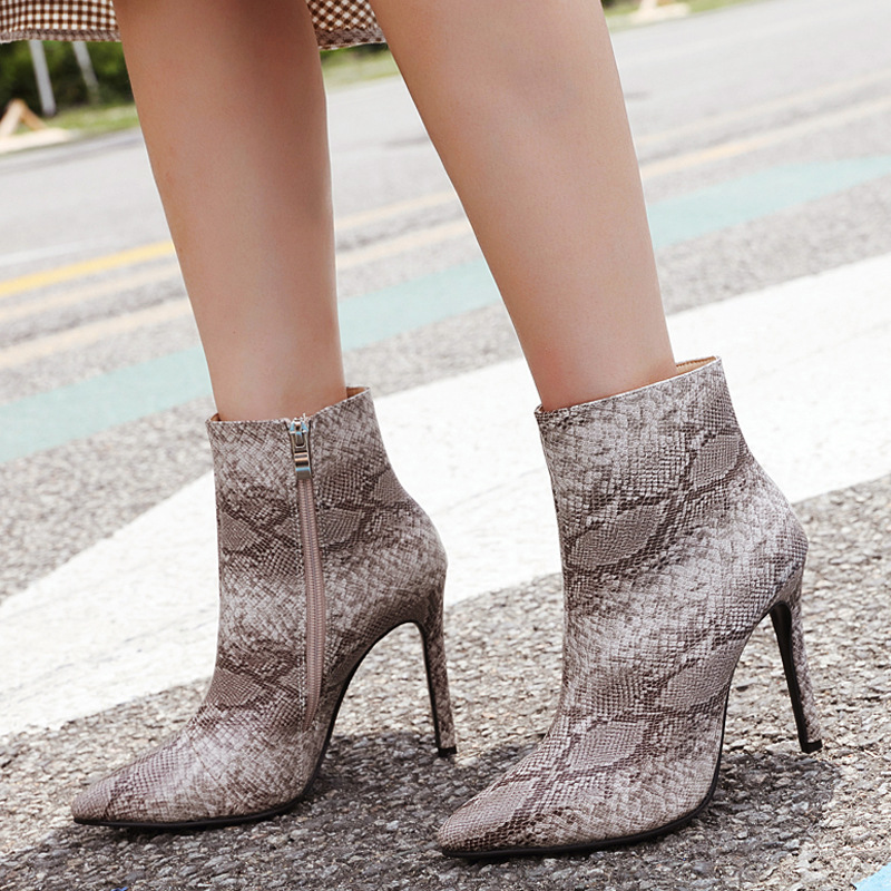 TINGHON Plus size 35 42 Sexy Pointed Toe Snake pattern Boots High Heel Women Boots Sexy Thin Heel Ankle Boots For Women in Ankle Boots from Shoes