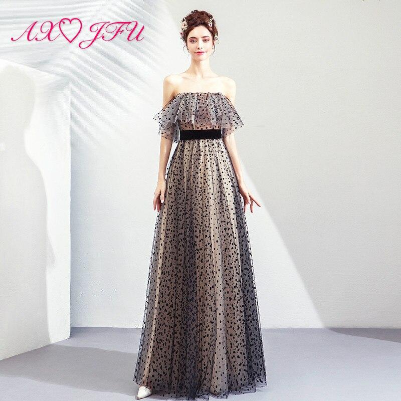 AXJFU Korean black lace   evening     dress   vintage black Wave point ruffles strapless beach sleeveless long   evening     dress   8828