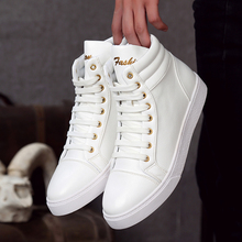 ROEGRE 2017 Winter High Top Red Shoes Men Casual Flats Shoes Lace Up Platform Sapatos Tenis Masculino Winter Boots Black White