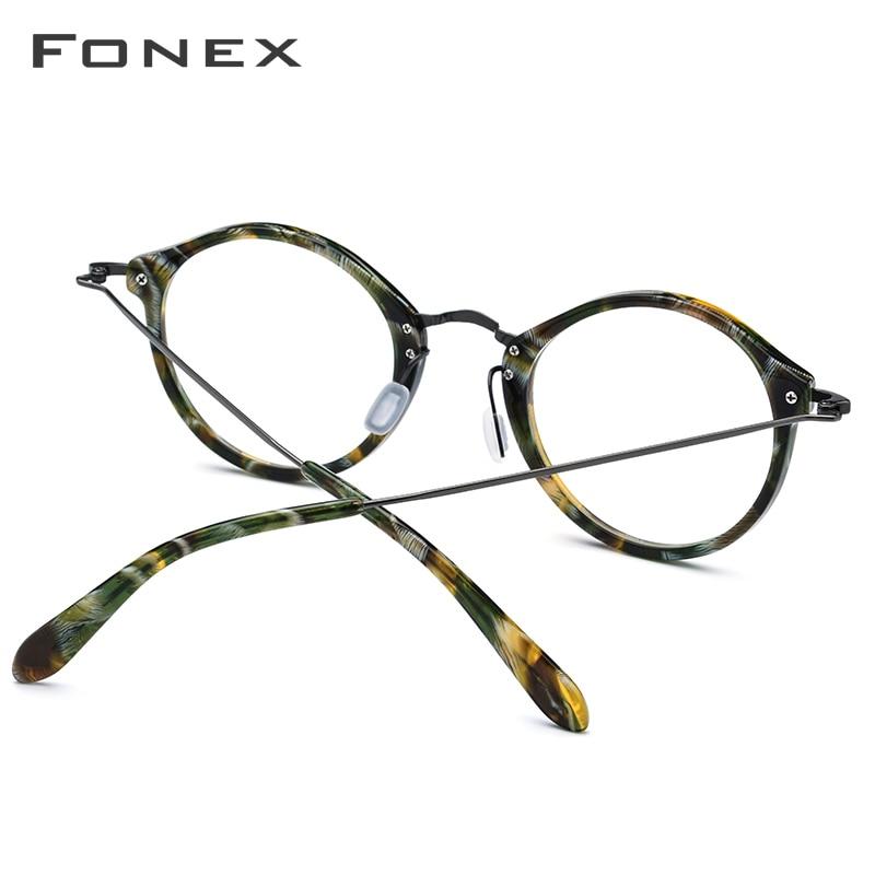 Image 4 - Elastic B Titanium Optical Glasses Frame Women Vintage Round Prescription Eyeglasses Men Retro Myopia Acetate Spectacles Eyewear-in Men's Eyewear Frames from Apparel Accessories