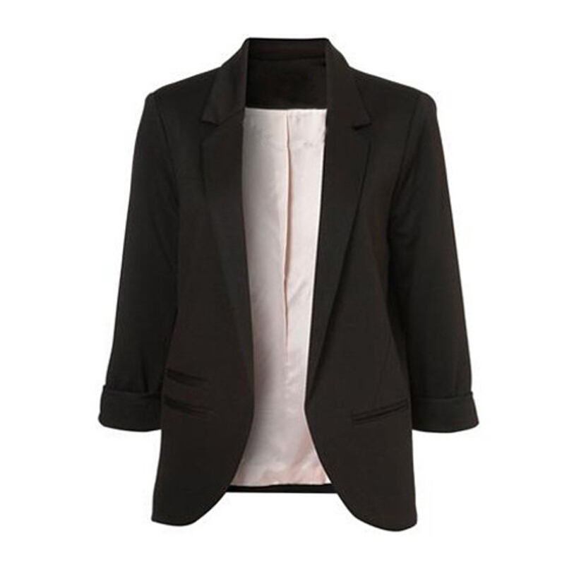 Women Fashion Blazer Jackets Office Work Open Front Notched Blazers 2019 autumn Slim yellow Ladies clothes three quarter sleeve