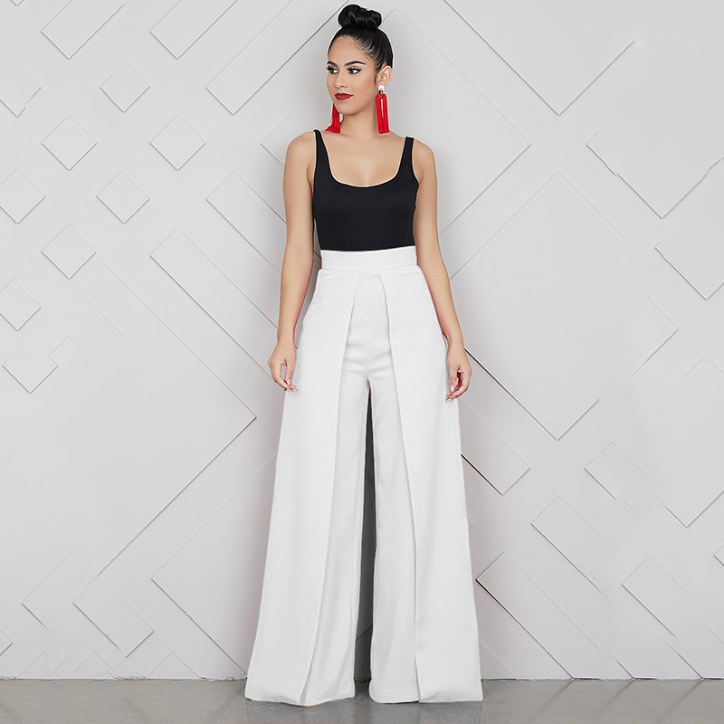 Elegant High Waist Women's Trousers 19 Autumn Winter White Black Office Baggy Long Back Zipper Wide Leg Pants pantalon femme 6