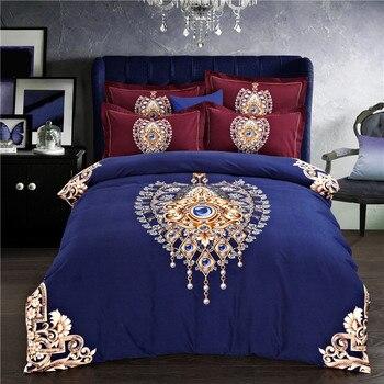 IvaRose 4Pieces Bohemia style Luxury Bedding Set King Size Queen Bed Set Sanding cotton Duvet Cover Bed Sheet Pillowcase