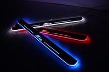 WOOBEST Impermeable Ultrafino Acrílico frontal LED travesaño de la puerta para ford fiesta 2013-15, puerta de la placa del desgaste del Led en movimiento, camino de luz
