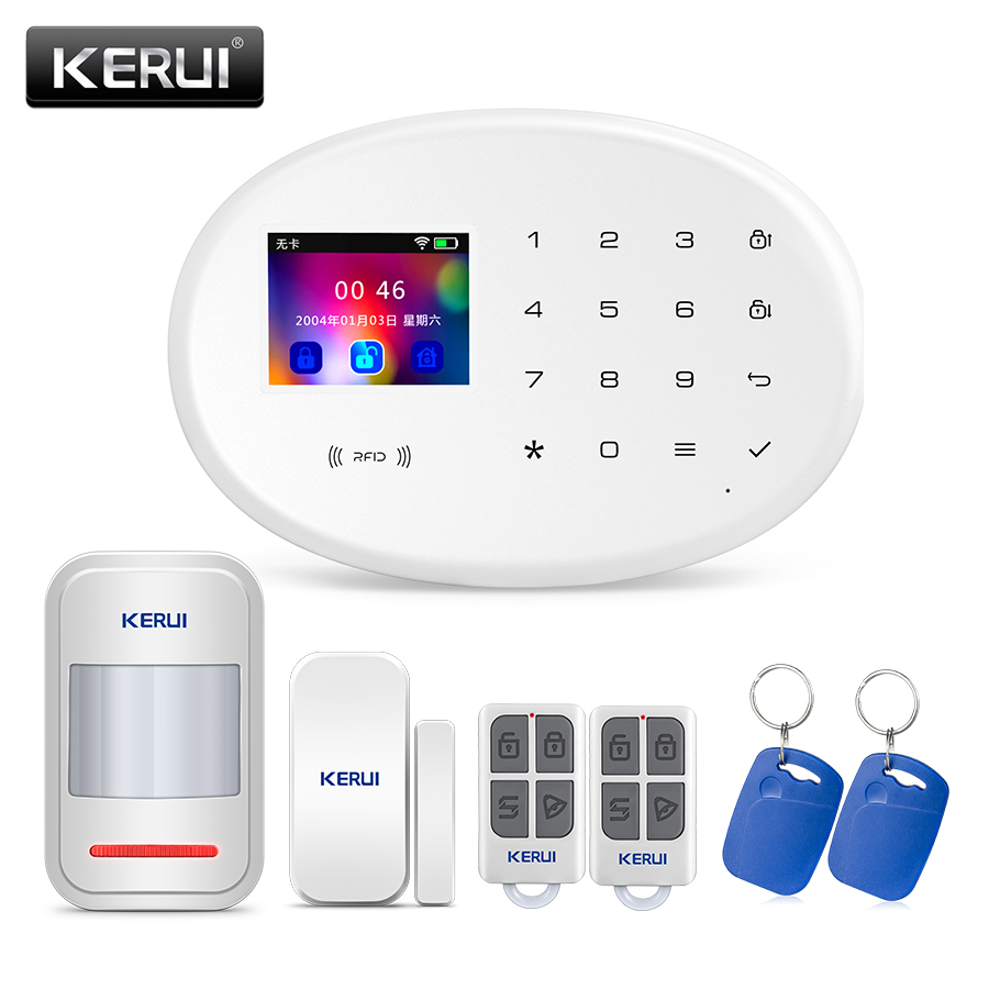 KERUI W20 inalámbrico 2,4 pulgadas Panel táctil WiFi GSM hogar sistema de alarma antirrobo de seguridad tarjeta RFID brazo/desarmar IOS android APP Control