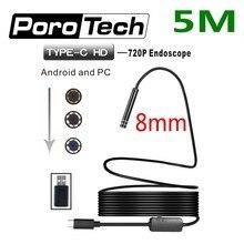 8mm obiektyw 5 m twardy kabel typu c interfejs telefonu z systemem Android i PC OTG endoskop kamera wodoodporna kamera inspekcyjna boroskop kamera inspekcyjna
