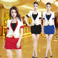 Free Shipping Sexy Female Short Sleeves Elegant Work Uniform For Women Office Lady Skirt Suit White Airline V-neck Work Wears
