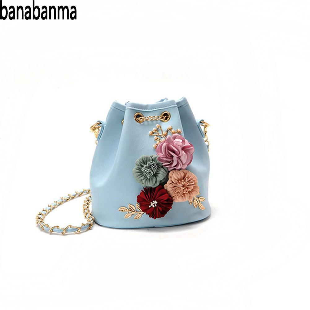 Banabanma Womens Handbag Flower Embellished Single Shoulder Bags Lady Handbag Drawstring Bucket Bag Bags for Women 2018 ZK30Banabanma Womens Handbag Flower Embellished Single Shoulder Bags Lady Handbag Drawstring Bucket Bag Bags for Women 2018 ZK30