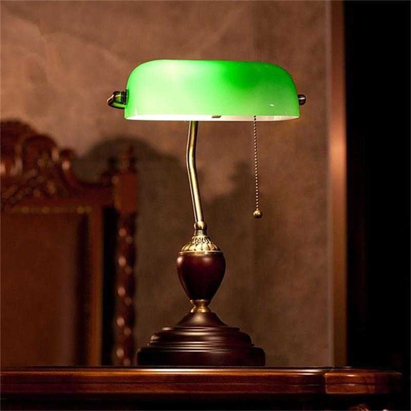 Emerald Green Glass Table Light Power Bank Desk Lamp Office Red Wood