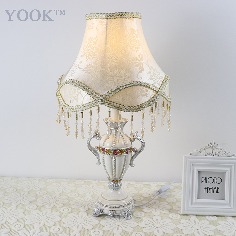 European Table Lamp Court Style Tassel Pendant Resin Table Lamp For Living Room Diamond Carving Resin Table Lamps For Bedroom european style retro table lamps mediterranean solid wood table lamp living room lamp bedroom lamp country table lightin lu71363