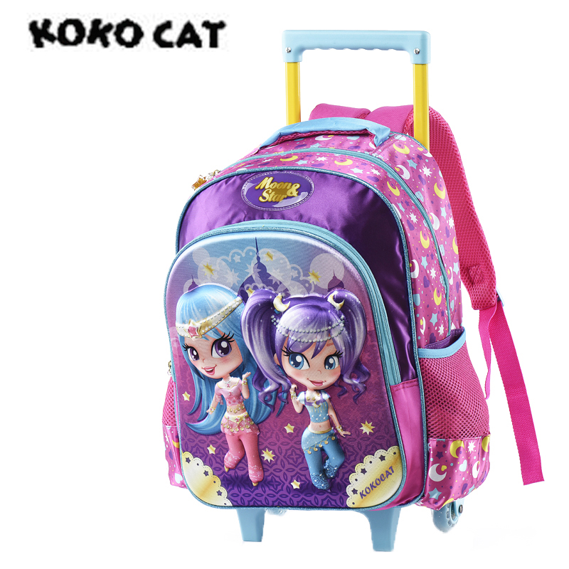 Girls primary school Trolley Backpack with Wheels Suitcase Luggage Suitcase for kids Children Rolling Travel Wheeled Bag in School Bags from Luggage Bags