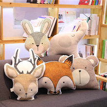 INS Short Plush Cartoon Pilllow Cute Soft Animal Stuffed Cushion Print Fox Bear Giraffee Deer Nordic Toys For Kids Room Decor